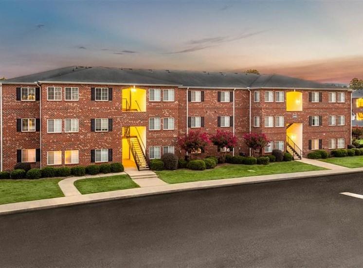 Apartment Complex Exterior At Night at Hidden Creek Village Apartments, Fayetteville, North Carolina