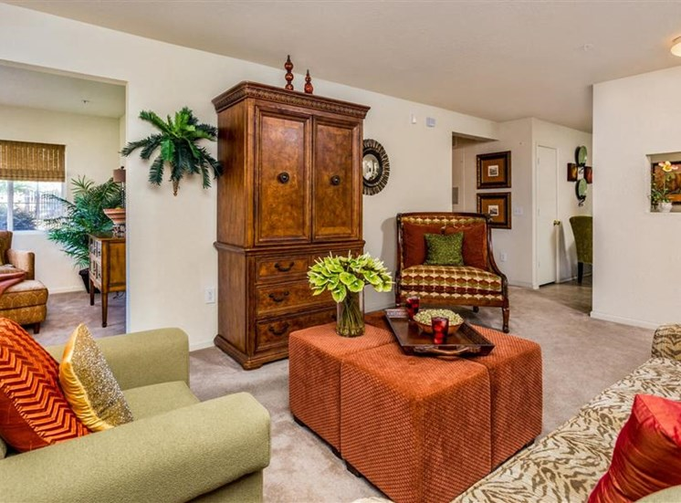 Contemporary Living Room at Hidden Creek Village Apartments, Fayetteville