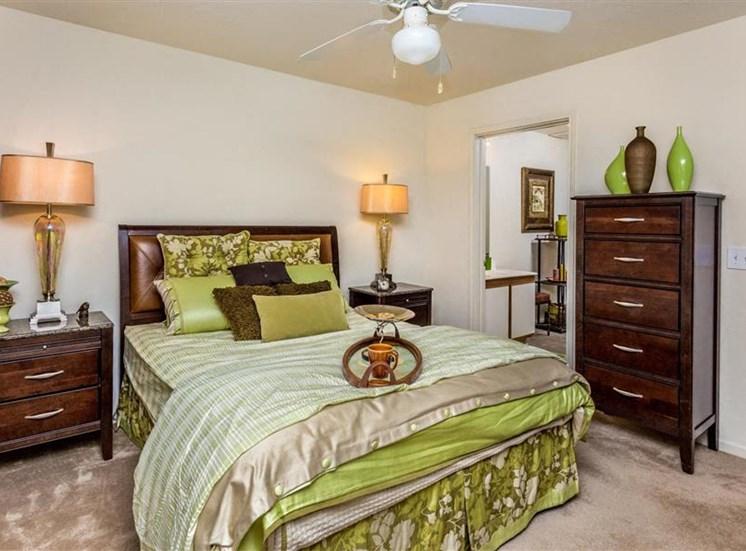 Master Carpeted Bedroom at Hidden Creek Village Apartments, Fayetteville, North Carolina