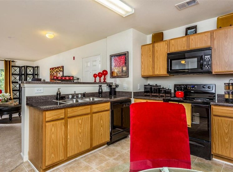 Kitchens With Built-In Microwaves at Eagle Point Village Apartments, Fayetteville