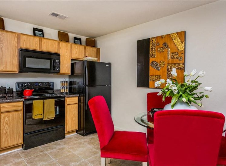 Kitchen Equipped With Black EnergyStar Appliances at Eagle Point Village Apartments, Fayetteville, North Carolina