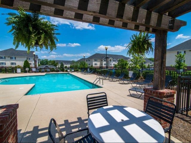 Shaded Lounge Area by Pool at Cedarcrest Village Apartments, Lexington, South Carolina