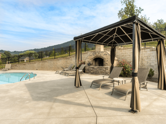 Shaded Lounge Area by Pool at Berrington Village Apartments, Asheville, North Carolina