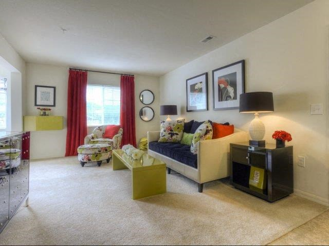 Lush Wall-to-Wall Carpeting in Living Room at Berrington Village Apartments, Asheville, NC, 28803