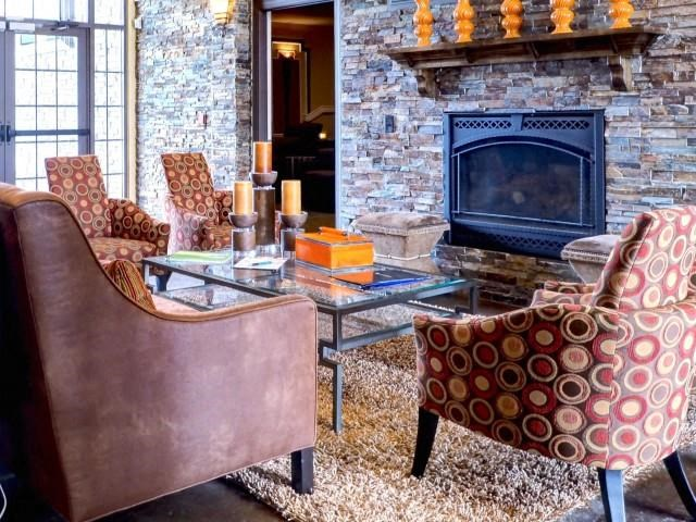 Remodeled Living Room with Fireplace at Amberton at Stonewater, Cary, NC