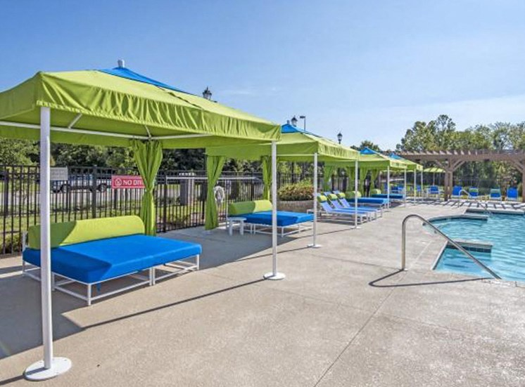 Shaded Lounge Area by Pool at NorthPoint at 68, High Point, NC, 27265