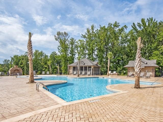 Resort-Inspired Pool with Chaise Ledge and Bubblers at Maystone at Wakefield, Raleigh, NC