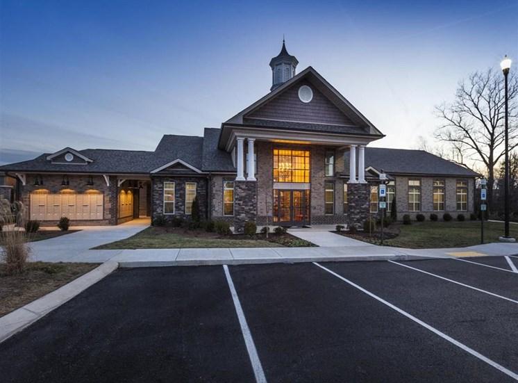 Clubhouse Front Entrance at Dusk at Maystone at Wakefield, North Carolina, 27614