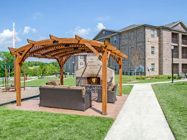Open-Air Lounges with Fire Pits at Glass Creek Apartments, Tennessee, 37122