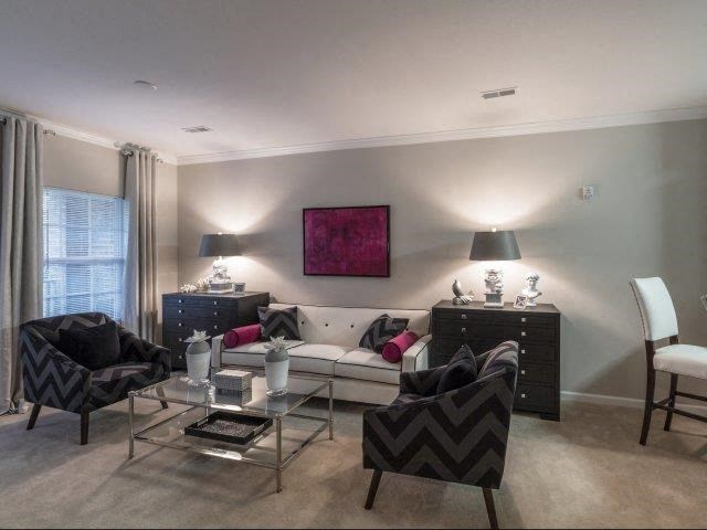 Living Rooms With Beautiful Window Coverings at Glass Creek Apartments, Mt Juliet, TN, 37122