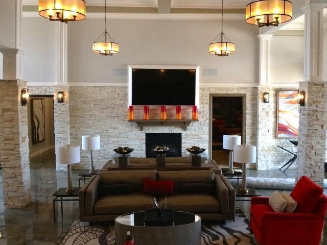 Stylish Clubhouse with Fireplace, TV and Kitchen at Everwood at the Avenue, Murfreesboro, TN