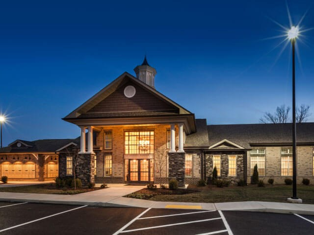 Resident Lounge Front Entrance at Night at Everwood at the Avenue, Murfreesboro, TN