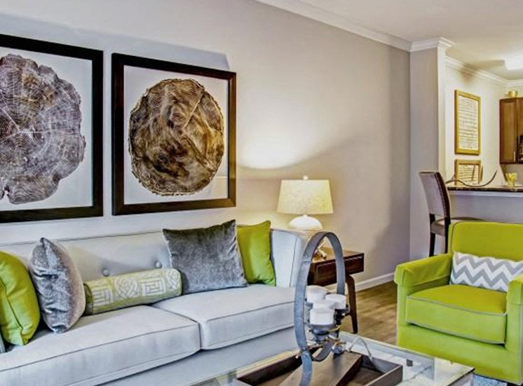Living Room With Crown Molding & Textured Walls at Heron Pointe, Tennessee, 37214