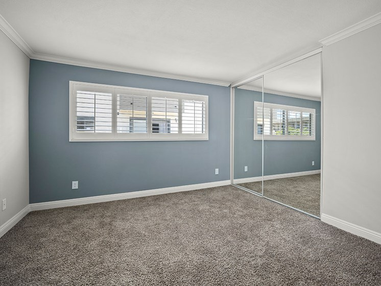 Carpeted bedroom with blue accent wall.