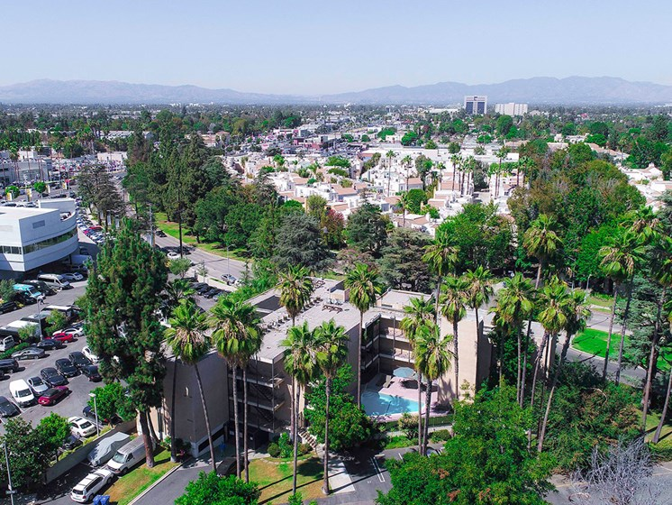 Aerial drone image of Chandler Circle Apartments and the Sherman Oaks neighborhood surrounding.