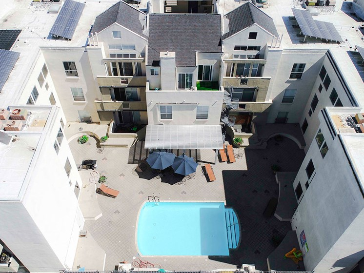 Drone image of the pool and roofs with white solar coating to lower our carbon footprint.