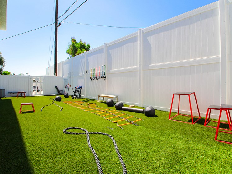 Outdoor fitness center with free weights, jump ropes, and medicine balls.