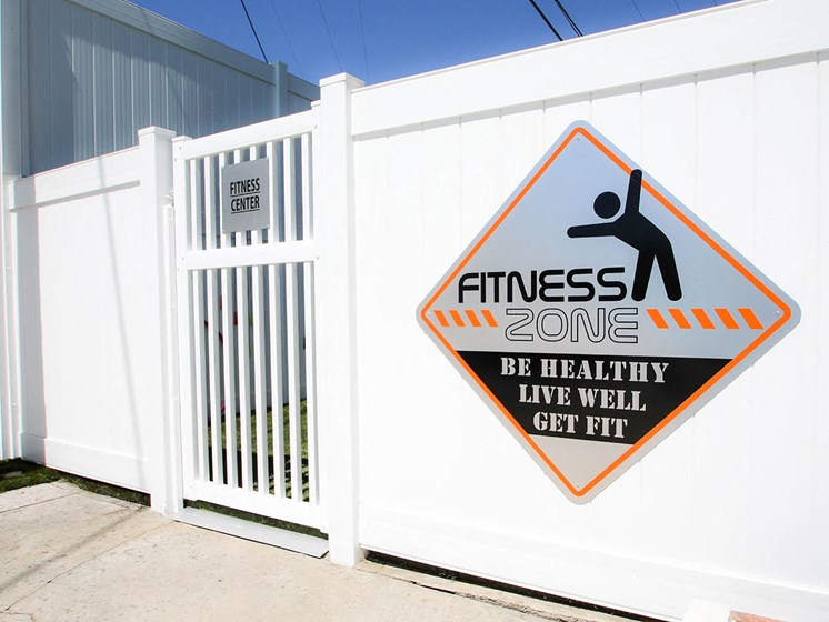 Entrance to fitness zone where we offer free weights, ropes, and fitness equipment.