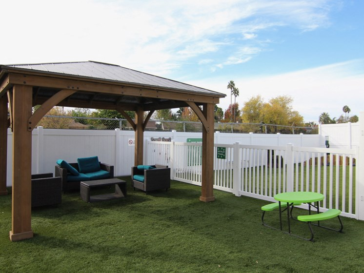 Gazebo seating area just outside pet play park.