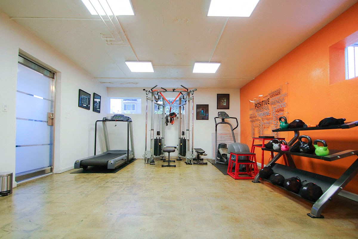 On-site gym with treadmill, weight machines, and free weights.