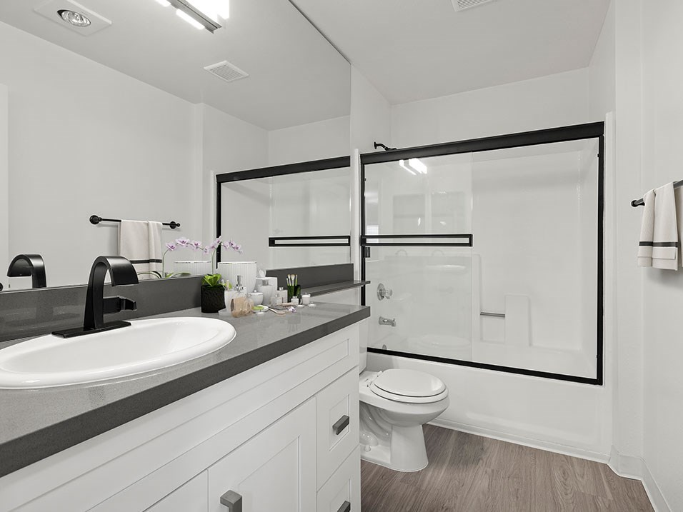 Newly remodeled bathroom with modern fixtures.