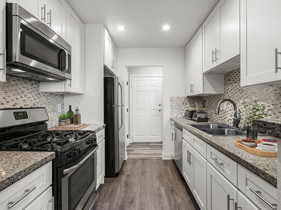 Brand new kitchen cabinets, back splash, quartz stone counter tops, and stainless steel appliances with fridge!