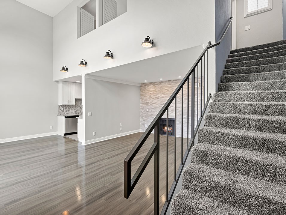 View of private stairs up to overhead loft.