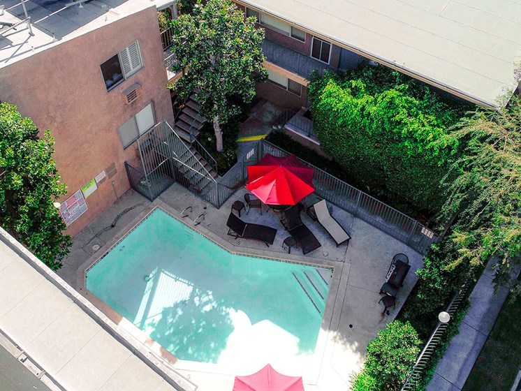 Overhead view of the pool in the courtyard.