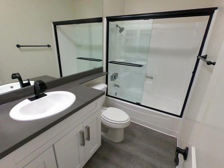 View of glass shower and tub enclosure, quartz stone countertops and new bathroom flooring.