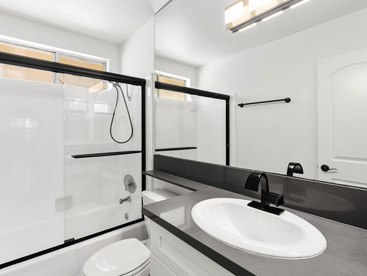 Modern styled bathroom with shower and tub.