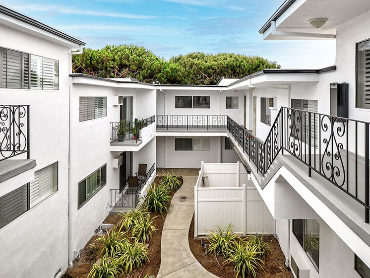 Modern styled courtyard with walk up access to apartment homes.