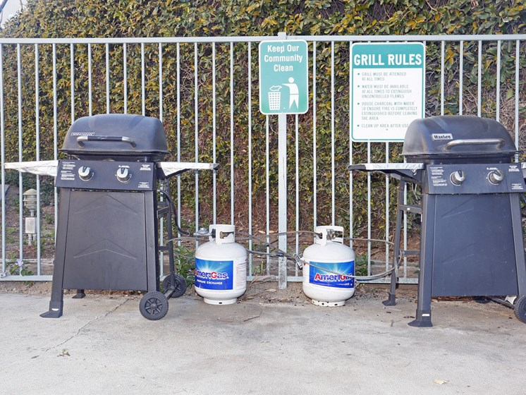 Barbecue area at the community pool.