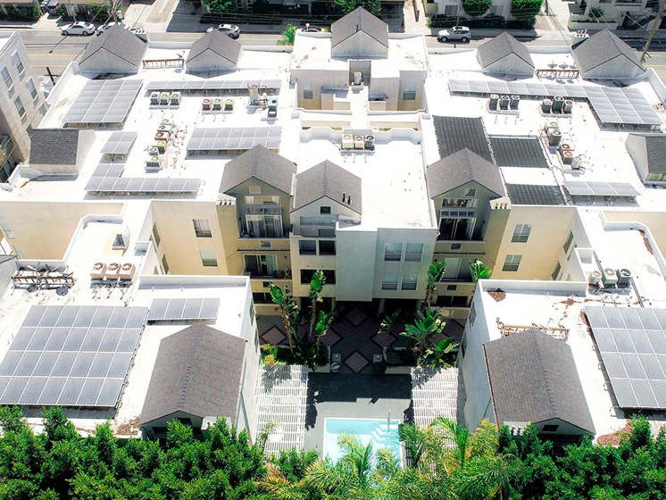 Aerial drone image of Palms Court Apartments.