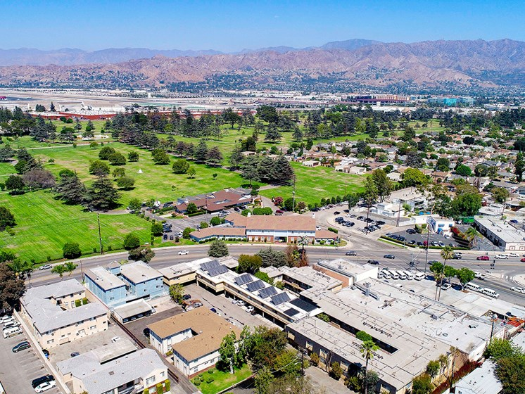 Aerial drone photo of 10620 NoHo and the surrounding community.