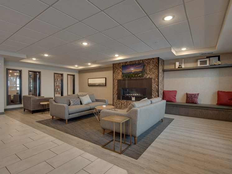 Clubroom with Catering Kitchen at TRIO @ southbridge, Shakopee, MN