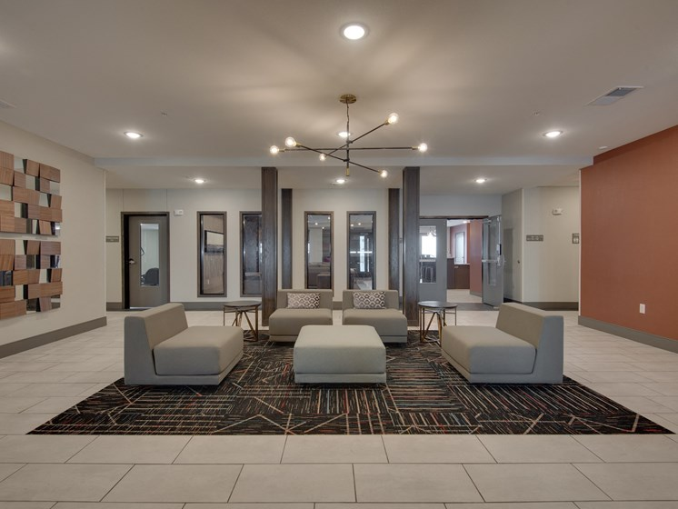 Clubhouse with TV, Fireplace, and Kitchen at TRIO @ southbridge, Shakopee, Minnesota
