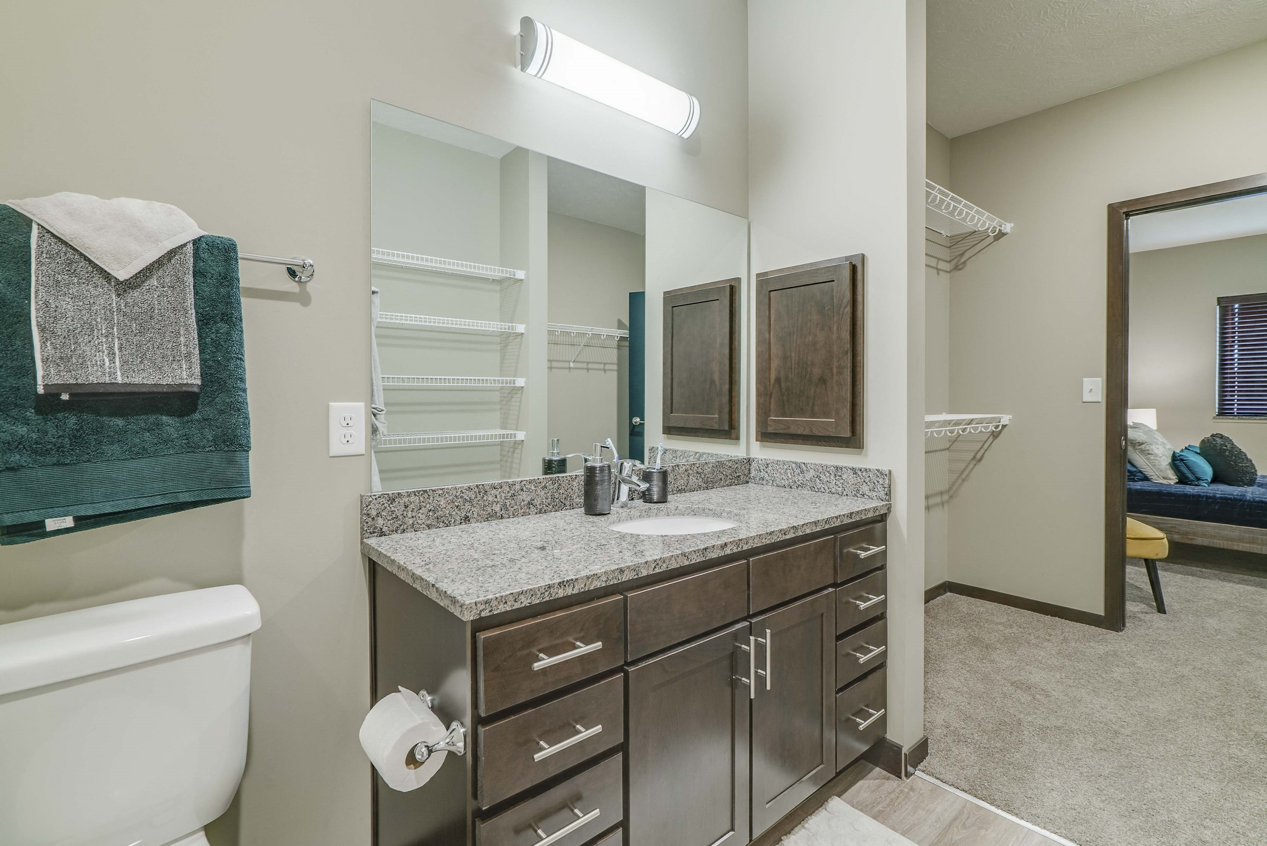Master bathroom at WH Flats new luxury apartments in south Lincoln NE 68516