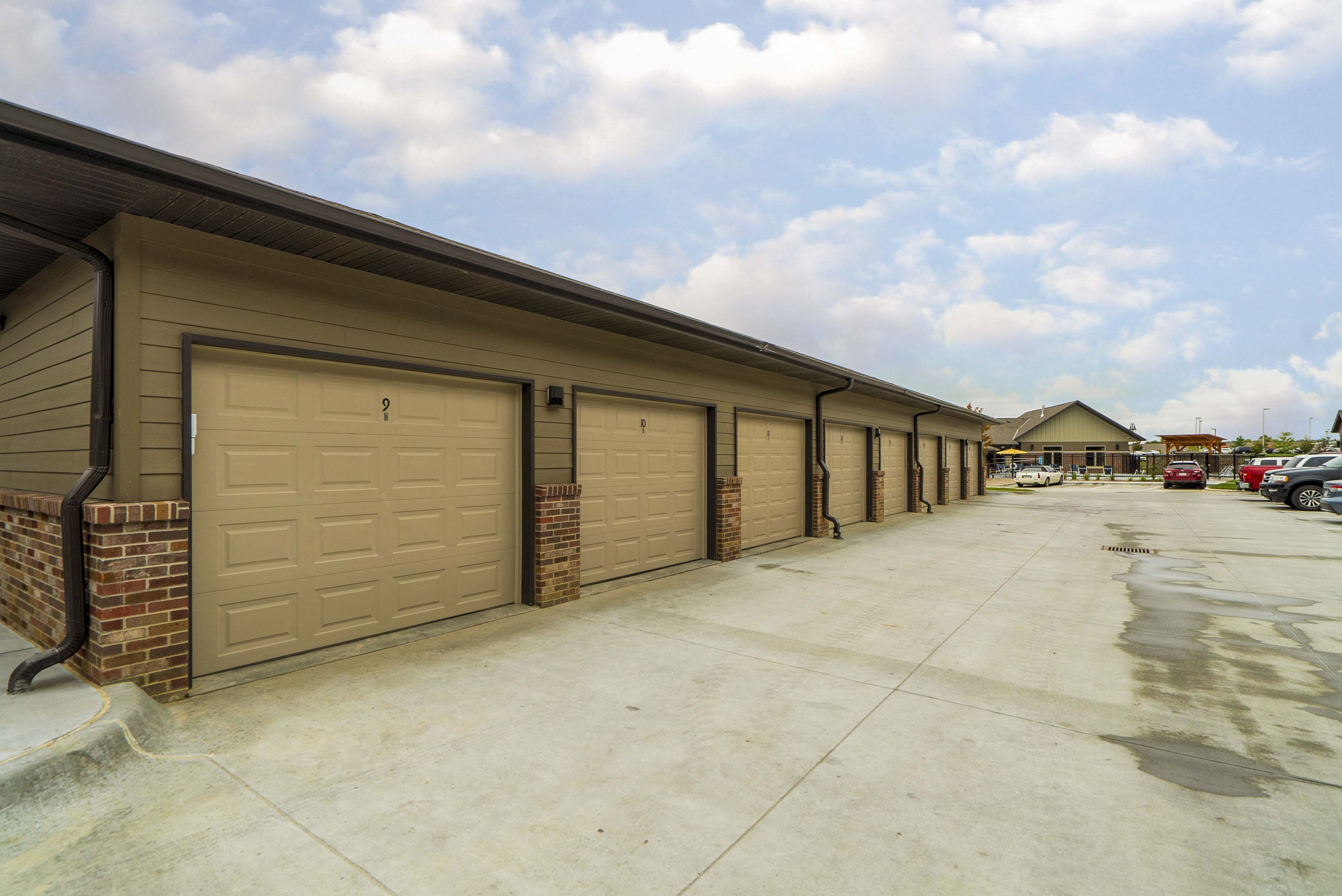 Detached garage parking available at WH Flats new luxury apartments in south Lincoln 68516