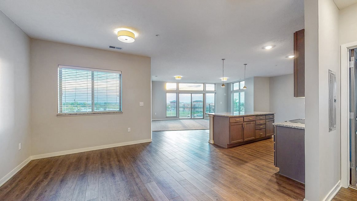 Large kitchen and living space at WH Flats