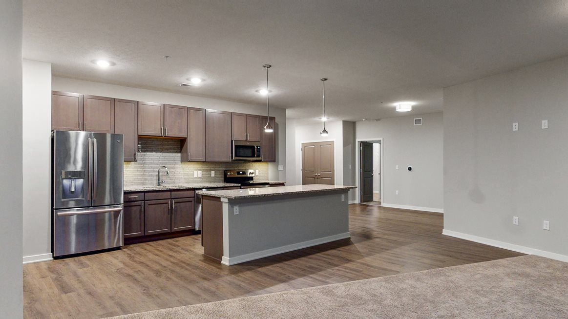 Large kitchen floor plan with island at WH Flats