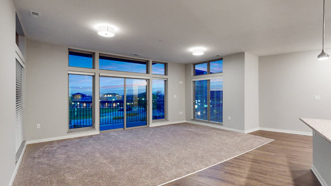 Large open floor plan living space at WH Flats