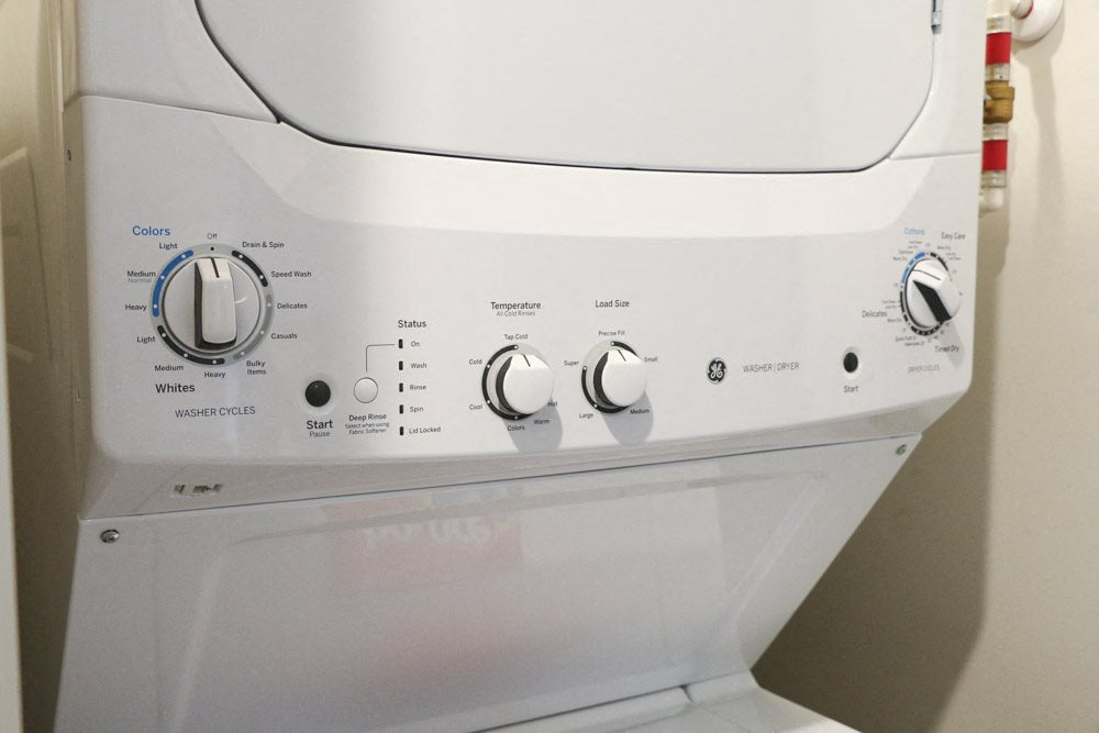 Washer and dryer included in unit at WH Flats new luxury apartments in south Lincoln NE 68516