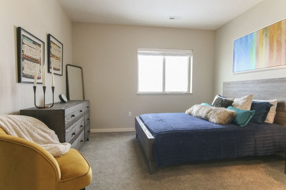 Master bedroom at WH Flats new luxury apartments in south Lincoln NE 68516
