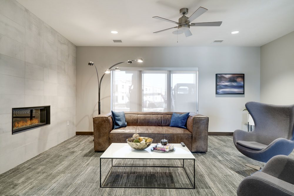Leasing office lounge at WH Flats luxury apartments in south Lincoln NE