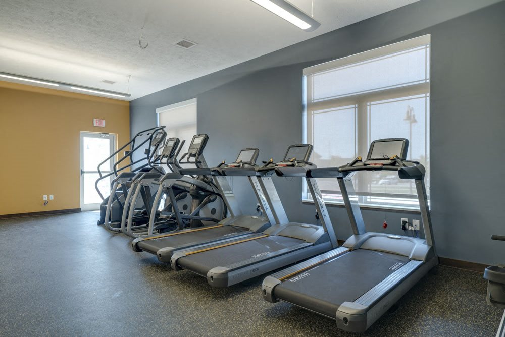 Treadmills with built-in TV screens with Netflix streaming at WH Flats apartments in south Lincoln NE