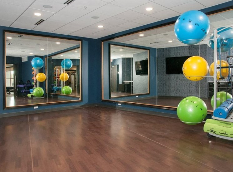 Fitness Center With Yoga/Stretch Area Residences at 1700 in Minnetonka, MN 55305
