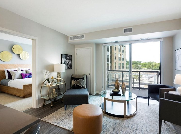 Living Room With Expansive Window Residences at 1700, Minnesota