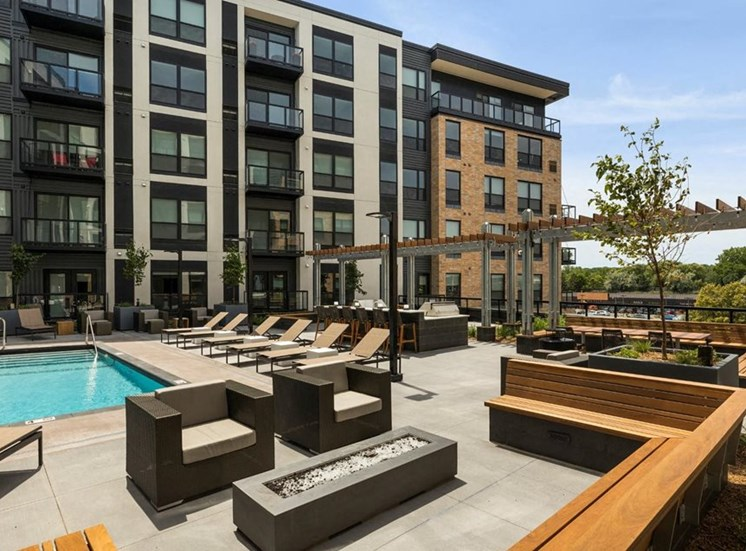Relaxing Pool Area With Sundeck at Residences at 1700, Minnetonka