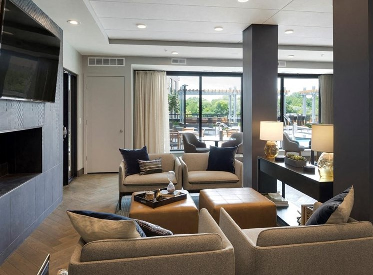 Lounge Area With Tv, Residences at 1700, Minnesota, 55305