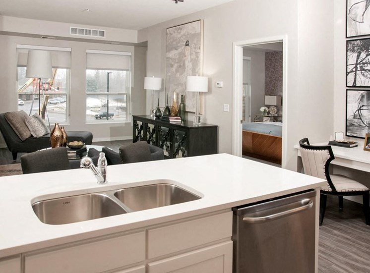 Stainless Steel Sink With Faucet In Kitchen Residences at 1700, Minnetonka, MN